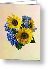 Sunflowers And Hydrangeas Greeting Card