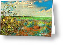 Sunflowers On The Edge Greeting Card