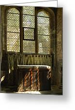 sunlight on linen fold altar in Trinity church York Greeting Card