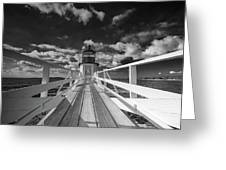 Sunny Skies At Marshall Point In Black And White Greeting Card