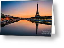 Sunrise At The Eiffel Tower, Paris Greeting Card