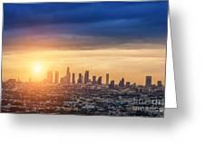 Sunrise Over Los Angeles City Skyline Greeting Card