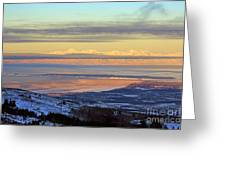 Sunrise View Across Cook Inlet From Above Anchorage Alaska Greeting Card