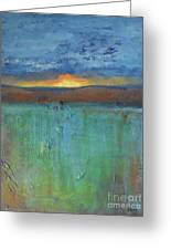 Sunset - Abstract Landscape Painting Greeting Card