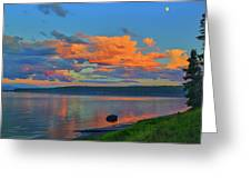 Sunset At Yellowstone Lake Greeting Card by Greg Norrell