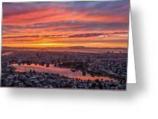 Sunset Explosion Over Lake Merritt Greeting Card