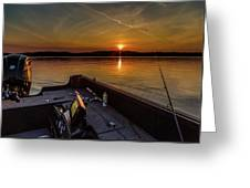 Sunset Fishing Dog Lake Greeting Card
