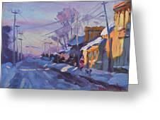 Sunset In A Snowy Street Greeting Card