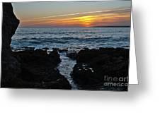 Sunset In Gale Beach. Coast Of Algarve Greeting Card