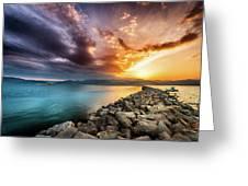 Sunset In Nafplio Greeting Card