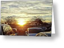 Sunset In Parking Lot 2 Greeting Card
