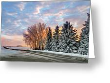 Sunset In Winter Greeting Card