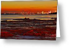 Sunset On The Still Frozen Upper Niagara River Greeting Card