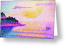 Sunset Over The Sea - Digital Remastered Edition Greeting Card