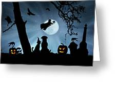 Super Cute Halloween Night With Dog And Cat Greeting Card