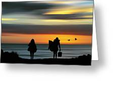 Surfer Girls Silhouette Greeting Card