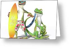 Surf's Up Geckos Greeting Card