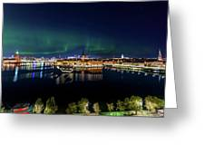 Swirly Aurora Over Stockholm And Gamla Stan Greeting Card