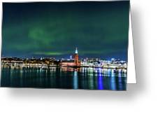 Swirly Aurora Over The Stockholm City Hall And Kungsholmen Greeting Card