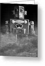Take Me To Your Leader Vintage Tin Toy Robot Black And White Greeting Card