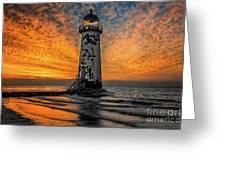 Talacre Beach Lighthouse Sunset Greeting Card