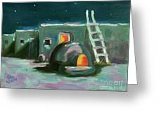 Taos At Night Greeting Card