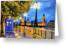 Tardis In The Rain - London Greeting Card by Mark Tisdale