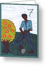 Tarot Of The Younger Self Seven Of Pentacles Greeting Card