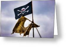 Tattered Sail And Pirate Flag Greeting Card