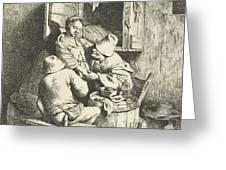 Tavern Man Caressing A Woman Greeting Card