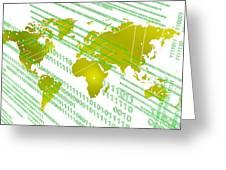 Tech Worldmap With Binary Code Greeting Card