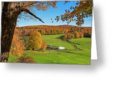 Tending To The Farm Woodstock Vermont Vt Vibrant Autumn Foliage Yellow And Orange Greeting Card