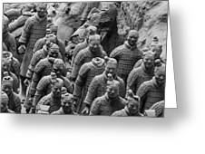 Terra Cotta Warriors In Black And White, Xian, China Greeting Card