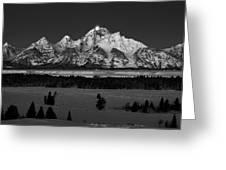 Teton Monochrome Moon-set  Greeting Card