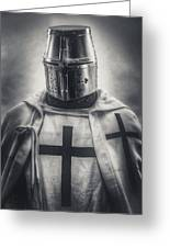 Teutonic Knight Black And White Greeting Card