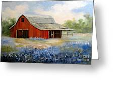 Texas Blue Bonnets And Red Barn Greeting Card