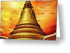 Thai Temple Sunset Greeting Card by Adrian Evans