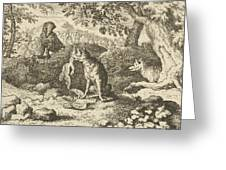 The Badger Hurries To Warn Renard Of The Lion's Intention Greeting Card