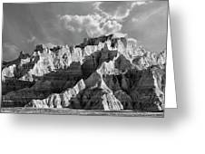 The Badlands In Black And White Greeting Card