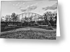 The Baseball Field Black And White Greeting Card