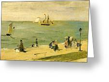 The Beach At Petit-dalles Also Known As On The Beach - 1873 - Virginia Museum Of Fine Arts Usa Greeting Card