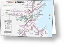 The Boston Pubway Map Iv Greeting Card