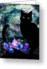 The Cat With Aquamarine Eyes And Celestial Crystals Greeting Card