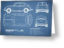 The Classic Beetle Blueprint Greeting Card