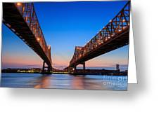 The Crescent City Connection Bridge On Greeting Card