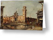 The Entrance To The Arsenal In Venice  Greeting Card