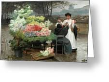 The Flower Vendor On The Quays In Paris Greeting Card