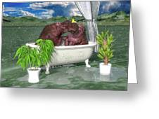 The Hippo Tub Greeting Card