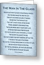 The Man In The Glass Poem - Blue Grey Greeting Card