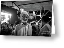 The Many Shades Of Delhi - Turbaned Man Greeting Card